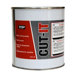 Close up photo of TTP can of CUT-IT 500ml metal lubricant & metal drilling lubricant part number CUT-IT500
