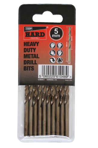 Close up photo of pack of 10 x 5mm TTP HARD cobalt drill bits in plastic sleeve